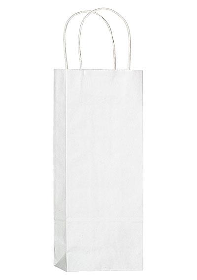 87 1w5313 White Kraft 1 Bottle Wine Bag Blank Zoom