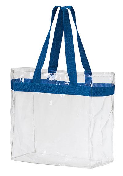 Clear Stadium Tote | 12 x 6 x 12 | Clear PVC | Blank